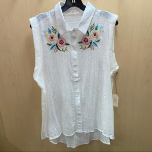 White Floral Embroidery Floral Top Sleeveless